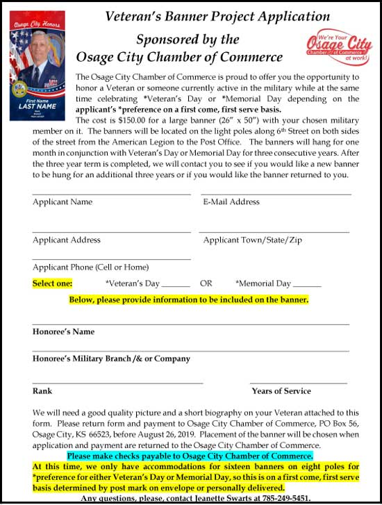 Veterans Banner Project Application